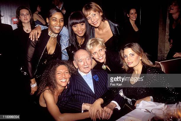 Eddie Barclay and Girl Friends during Eddie Barclay birthday Party at Club Les Bains in Paris France