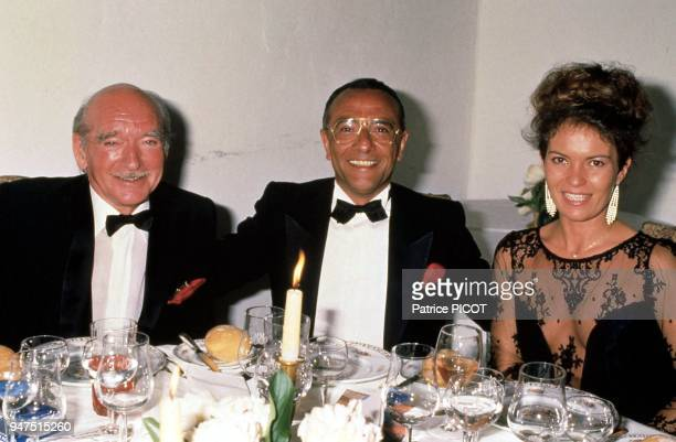 Eddie Barlay with his seventh wife Cathy Esposito and Yves Mourousi 1985