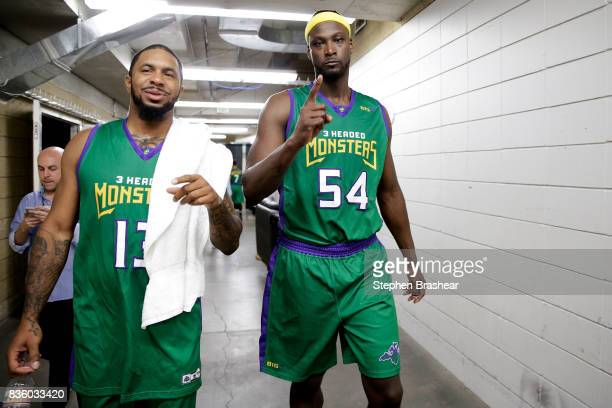 Eddie Basden and Kwame Brown of 3 Headed Monsters react in the hallway after winning the semifinals against the Power in week nine of the BIG3...