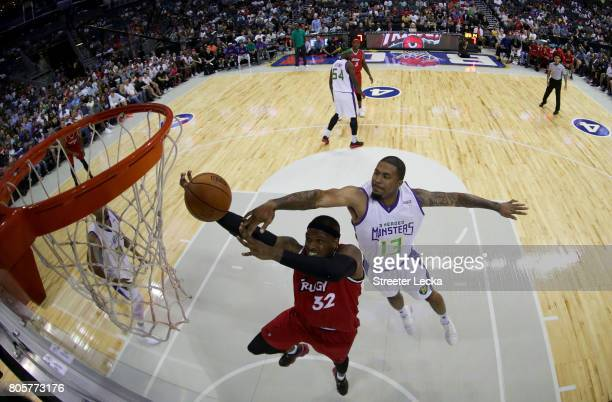 Eddie Basden of the 3 Headed Monsters swats Rashad McCants of Trilogy during week two of the BIG3 three on three basketball league at Spectrum Center...