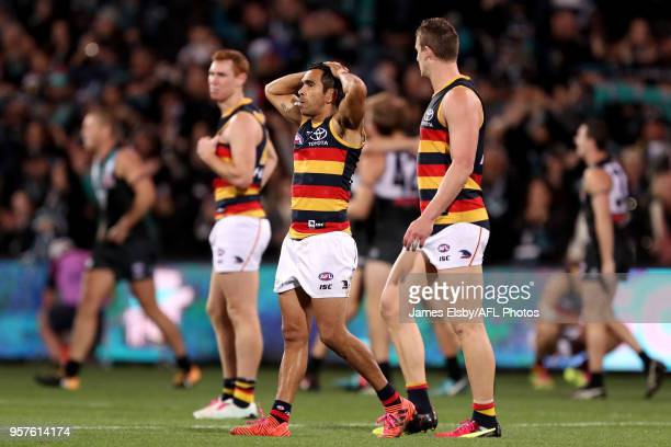 Eddie Betts and Josh Jenkins of the Crows after their loss during the 2018 AFL round eight match between the Port Adelaide Power and the Adelaide...