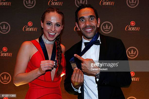 Eddie Betts and Mardi Dangerfield during the 2016 Brownlow Medal after party at Crown Entertainment Complex on September 26 2016 in Melbourne...