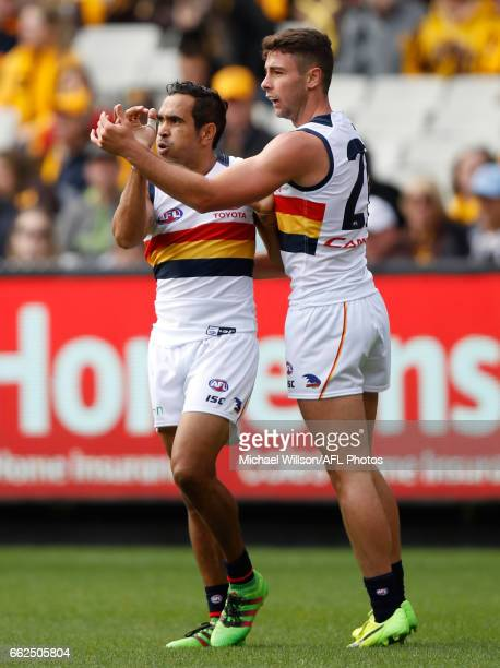 Eddie Betts and Rory Atkins of the Crows celebrate during the 2017 AFL round 02 match between the Hawthorn Hawks and the Adelaide Crows at the...