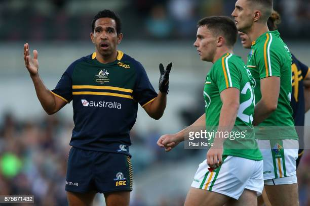 Eddie Betts of Australia looks to the umpire after a mark was overturned during game two of the International Rules Series between Australia and...