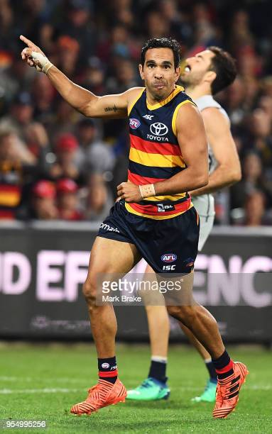 Eddie Betts of the Adelaide Crows celebrates a goal during the round seven AFL match between the Adelaide Crows and the Carlton Blues at Adelaide...