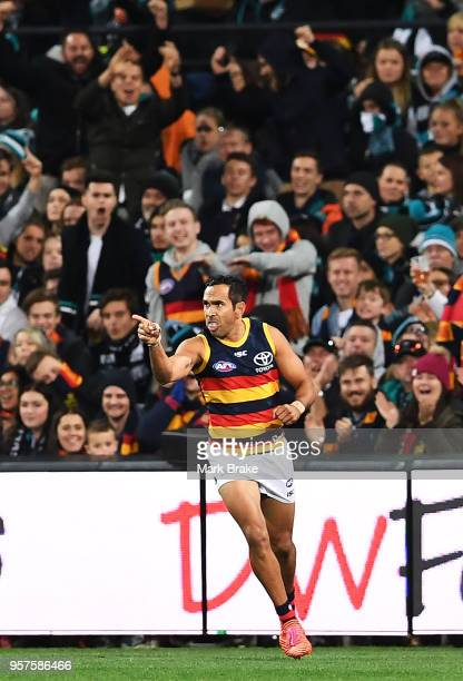 Eddie Betts of the Adelaide Crows celebrates a goal during the round eight AFL match between the Port Adelaide Power and the Adelaide Crows at...
