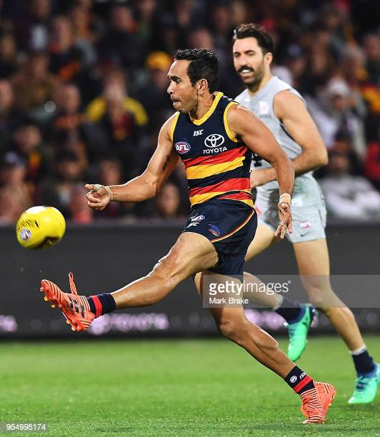Eddie Betts of the Adelaide Crows kicks a goal during the round seven AFL match between the Adelaide Crows and the Carlton Blues at Adelaide Oval on...