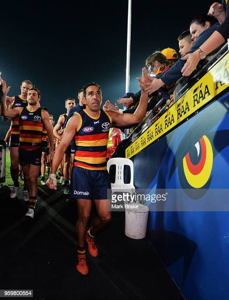 Eddie Betts of the Adelaide Crows leads his team down the race during the round nine AFL match between the Adelaide Crows and the Western Bulldogs at...