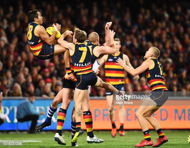 Eddie Betts of the Adelaide Crows marks in the last seconds of game during the round 22 AFL match between the Adelaide Crows and North Melbourne...