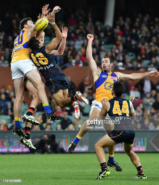 Eddie Betts of the Adelaide Crows nearly holds onto a high mark during the round 10 AFL match between the Adelaide Crows and the West Coast Eagles at...
