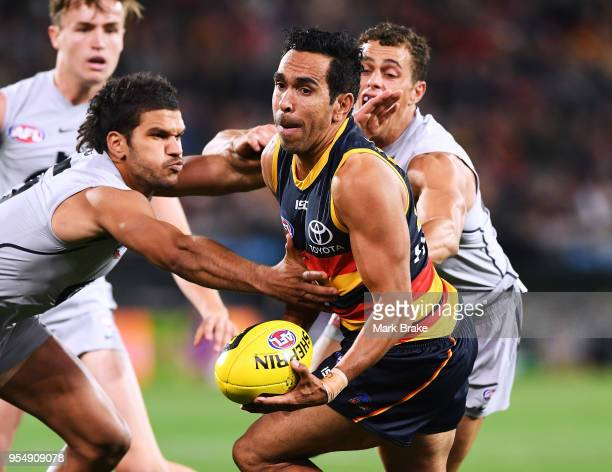 Eddie Betts of the Adelaide Crows under pressure from Sam PetrevskiSeton of the Blues during the round seven AFL match between the Adelaide Crows and...