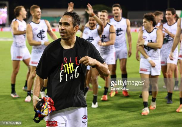 Eddie Betts of the Blues is seen after the match wearing a Free the Flag t-shirt during the round 13 AFL match between the Gold Coast Suns and the...