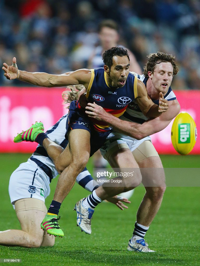 Eddie Betts of the Crows (L) and Jed Bews of the Cats compete for the ball during the round 18 AFL match between the Geelong Cats and the Adelaide Crows at Simonds Stadium on July 23, 2016 in Geelong, Australia.