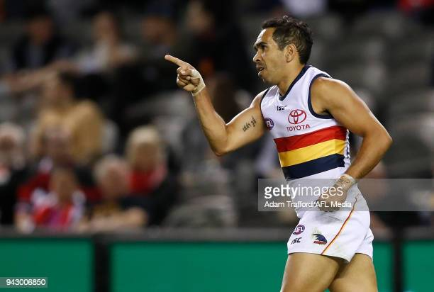 Eddie Betts of the Crows celebrates a goal during the 2018 AFL round 03 match between the St Kilda Saints and the Adelaide Crows at Etihad Stadium on...