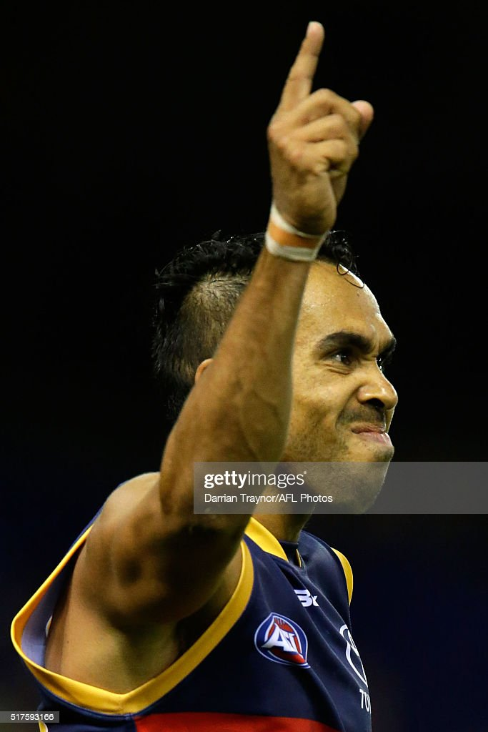 Eddie Betts of the Crows celebrates a goal during the round one AFL match between the North Melbourne Kangaroos and the Adelaide Crows at Etihad Stadium on March 26, 2016 in Melbourne, Australia.