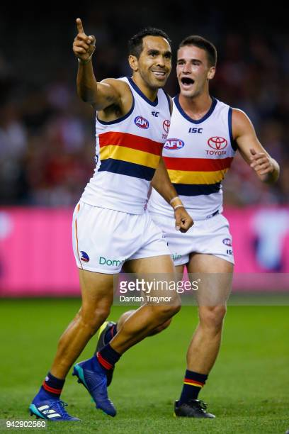 Eddie Betts of the Crows celebrates a goal during the round three AFL match between the St Kilda Saints and the Adelaide Crows at Etihad Stadium on...