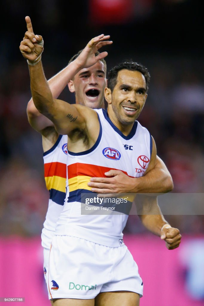 Eddie Betts of the Crows celebrates a goal during the round three AFL match between the St Kilda Saints and the Adelaide Crows at Etihad Stadium on April 7, 2018 in Melbourne, Australia.