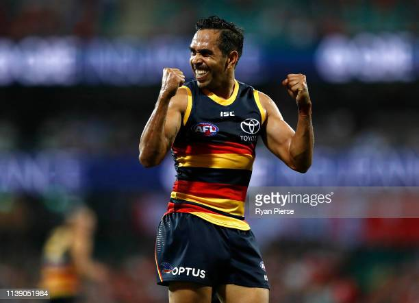 Eddie Betts of the Crows celebrates a goal during the round two AFL match between the Sydney Swans and the Adelaide Crows at Sydney Cricket Ground on...