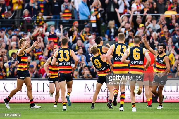 Eddie Betts of the Crows celebrates after kicking a goal during the round 5 AFL match between Adelaide and the Gold Coast at Adelaide Oval on April...