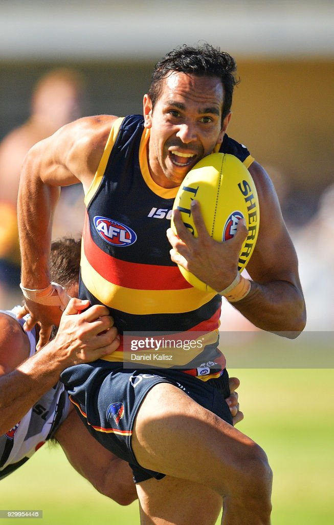 Eddie Betts of the Crows competes for the ball during the JLT Community Series AFL match between Port Adelaide Power and the Adelaide Crows at Alberton Oval on March 10, 2018 in Adelaide, Australia.