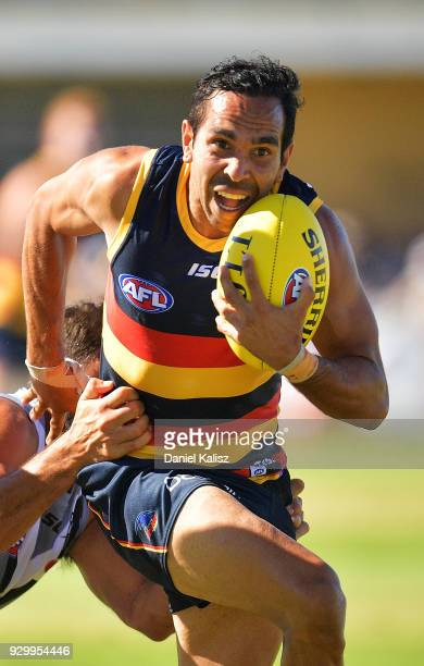 Eddie Betts of the Crows competes for the ball during the JLT Community Series AFL match between Port Adelaide Power and the Adelaide Crows at...