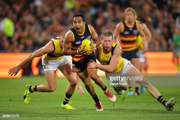 Eddie Betts of the Crows competes for the ball during the round two AFL match between the Adelaide Crows and the Richmond Tigers at Adelaide Oval on...