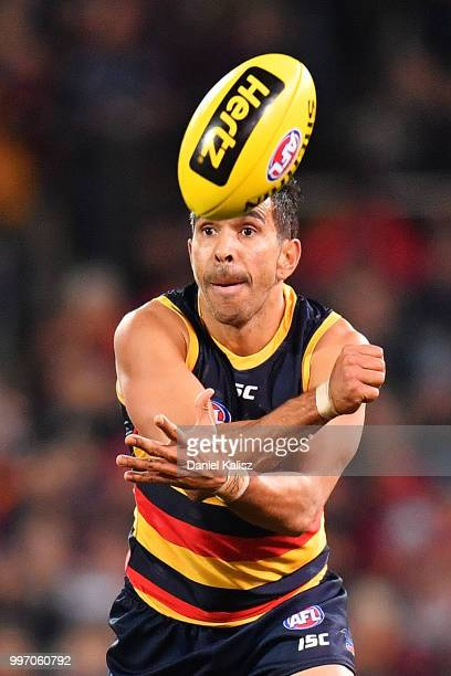 Eddie Betts of the Crows handballs during the round 17 AFL match between the Adelaide Crows and the Geelong Cats at Adelaide Oval on July 12 2018 in...