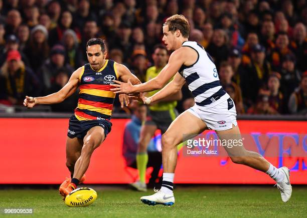 Eddie Betts of the Crows kicks the ball during the round 17 AFL match between the Adelaide Crows and the Geelong Cats at Adelaide Oval on July 12...