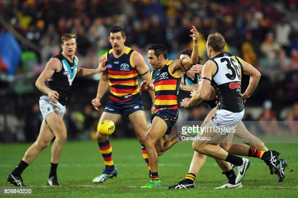 Eddie Betts of the Crows kicks the ball during the round 20 AFL match between the Adelaide Crows and the Port Adelaide Power at Adelaide Oval on...