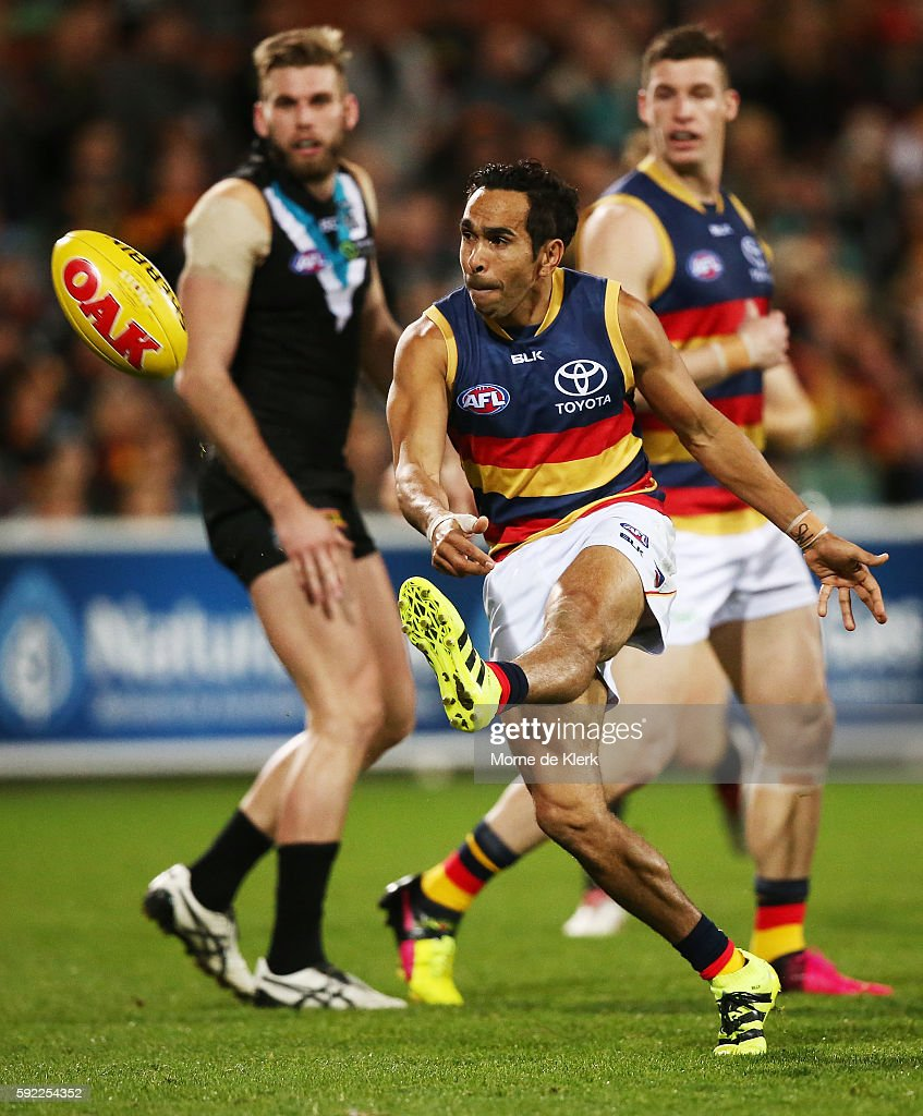 Eddie Betts of the Crows kicks the ball during the round 22 AFL match between the Port Adelaide Power and the Adelaide Crows at Adelaide Oval on August 20, 2016 in Adelaide, Australia.