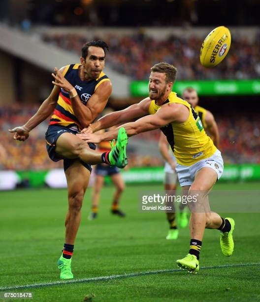 Eddie Betts of the Crows kicks the ball during the round six AFL match between the Adelaide Crows and the Richmond Tigers at Adelaide Oval on April...