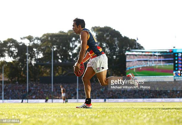 Eddie Betts of the Crows lines up for goal during the 2015 AFL round 16 match between Port Adelaide Power and the Adelaide Crows at the Adelaide Oval...