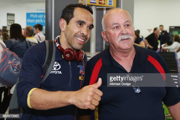 Eddie Betts of the Crows poses with fans on arrival at Melbourne Airport on September 28 2017 in Melbourne Australia Adelaide will play against...