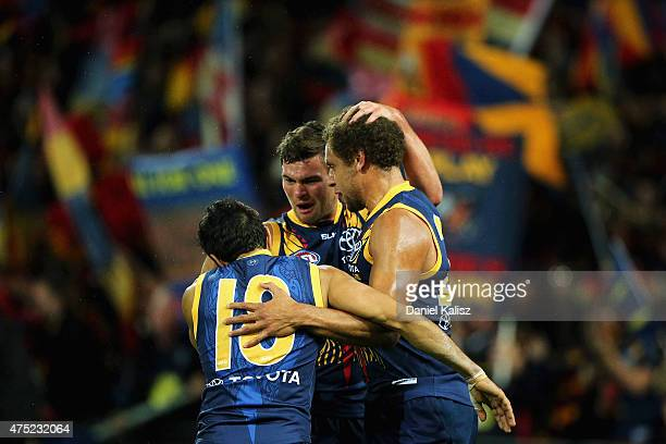 Eddie Betts of the Crows reacts after scoring a goal during the round nine AFL match between the Adelaide Crows and the Fremantle Dockers Adelaide...