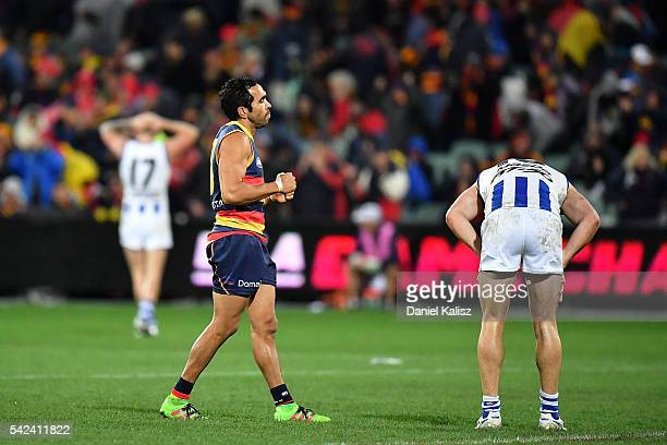 Eddie Betts of the Crows reacts after the final siren during the round 14 AFL match between the Adelaide Crows and the North Melbourne Kangaroos at...