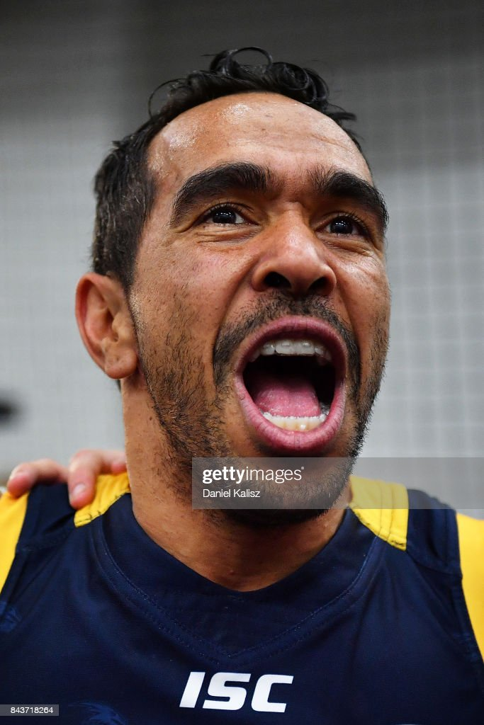Eddie Betts of the Crows sings the club song after the AFL First Qualifying Final match between the Adelaide Crows and the Greater Western Sydney Giants at Adelaide Oval on September 7, 2017 in Adelaide, Australia.