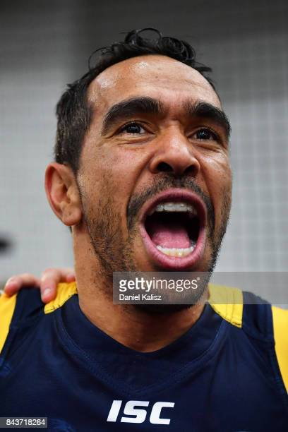 Eddie Betts of the Crows sings the club song after the AFL First Qualifying Final match between the Adelaide Crows and the Greater Western Sydney...