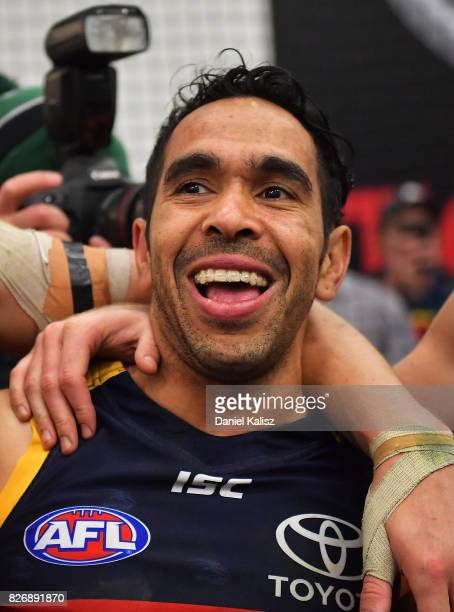 Eddie Betts of the Crows sings the club song after the round 20 AFL match between the Adelaide Crows and the Port Adelaide Power at Adelaide Oval on...