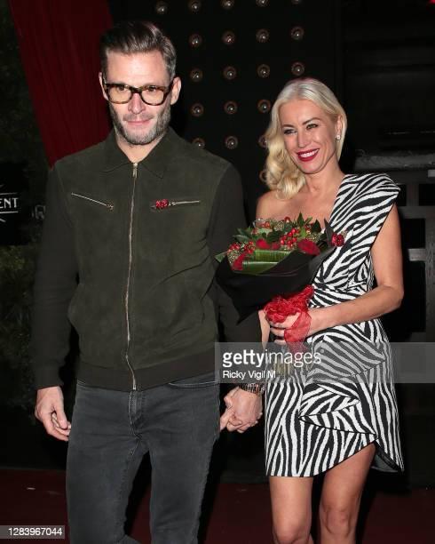 Eddie Boxshall and Denise van Outen seen leaving Proud Enbankment after her last performance before lockdown on Cabaret All Stars show on November...