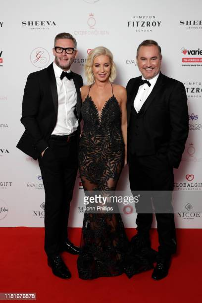 Eddie Boxshall Denise Van Outen and Nick Ede attend the annual Global Gift Gala London at Kimpton Fitzroy Hotel on October 17 2019 in London England