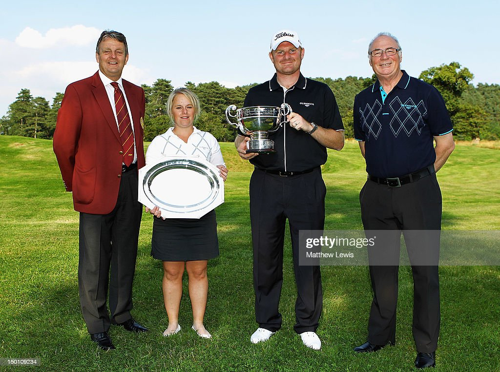 Eddie Bullock, Captain of the PGA and Colin Mee, Managing Director of Glenmuir pictured with Alexandra Keighley of Huddersfield Golf Club and Gareth Wright of West Linton Golf Club after winning the Glenmuir PGA Professional Championship at Carden Park Golf Club on August 10, 2012 in Chester, England.
