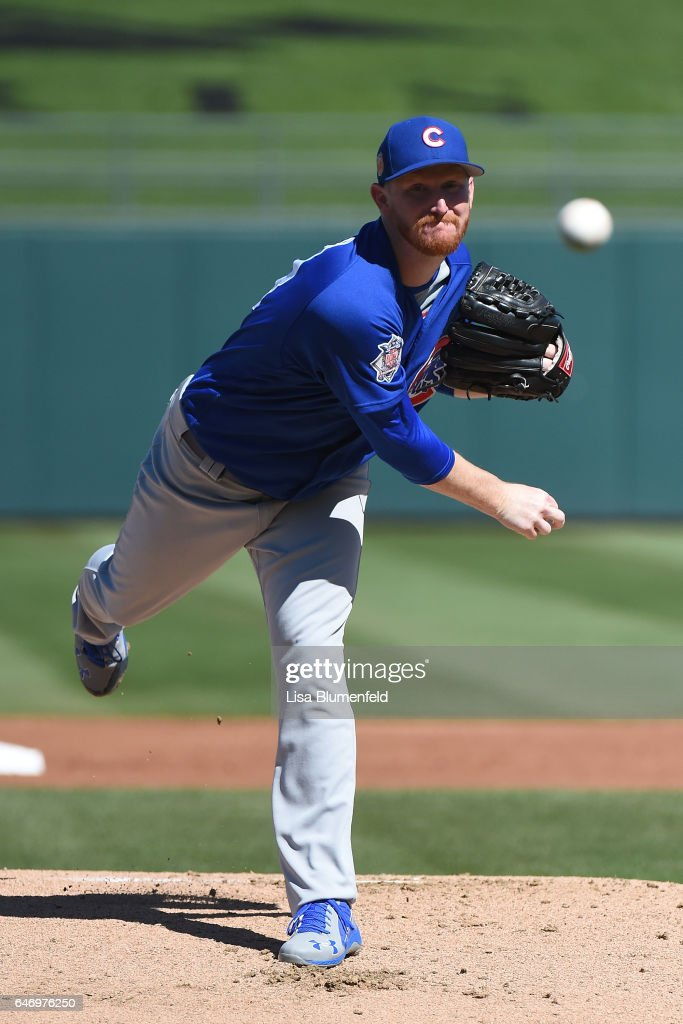 Eddie Butler #53 of the Chicago Cubs pitches against the Kansas City Royals at Surprise Stadium on March 1, 2017 in Surprise, Arizona.