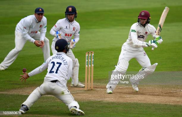 Jamie Overton of Somerset bowls during Day Three of the Specsavers County Championship Division One match between Somerset and Essex at The Cooper...