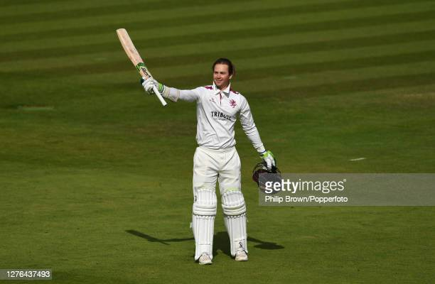 Eddie Byrom of Somerset celebrates after reaching his century during the second day of the Bob Willis Trophy Final between Somerset and Essex at...