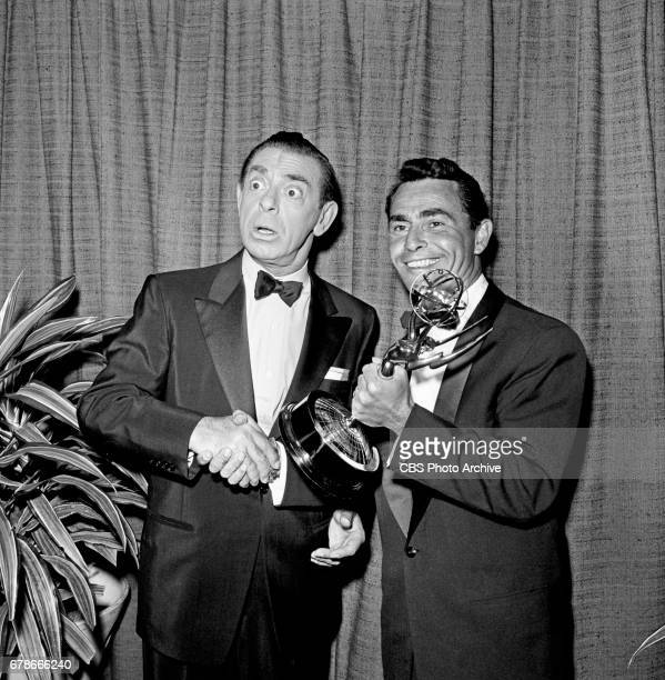 Eddie Cantor poses for a photo with Rod Serling at the 10th Annual EMMY Awards presented April 15 1958 at the Coconut Grove in Hollywood CA Serling...
