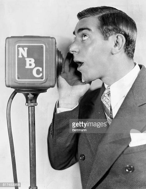 Eddie Cantor talking into NBC microphone Undated photograph