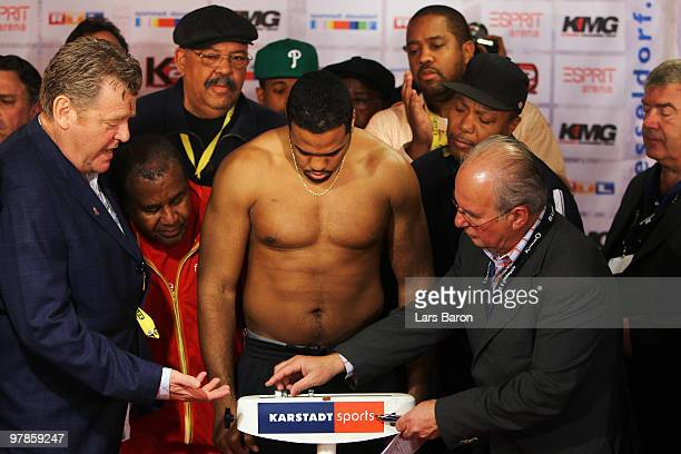Eddie Chambers is seen during the weigh in for the WBO Heavyweight World Championship fight against Wladimir Klitschko of Ukraine on March 19 2010 in...