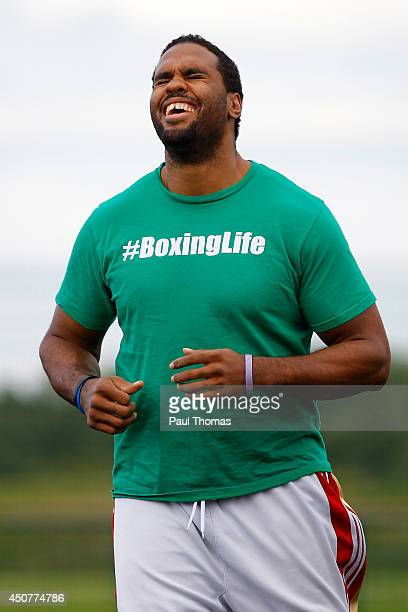 Eddie Chambers laughs during the Tyson Fury Media Session at the Eddie Davies Football Academy on June 17 2014 in Bolton England