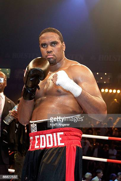 Eddie Chambers of the USA celebrates after winning the WBO Eliminator Heavyweight fight against Alexnder Dimitrenko of the Ukraine during the...