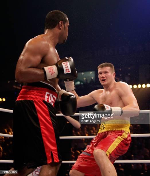 Eddie Chambers of the USA fights Alexander Dimitrenko of the Ukraine during the WBO Eliminator Heavyweight fight during the Universum Champions Night...